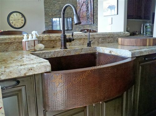 Beau Hammered Copper Sink With Rounded Apron Front