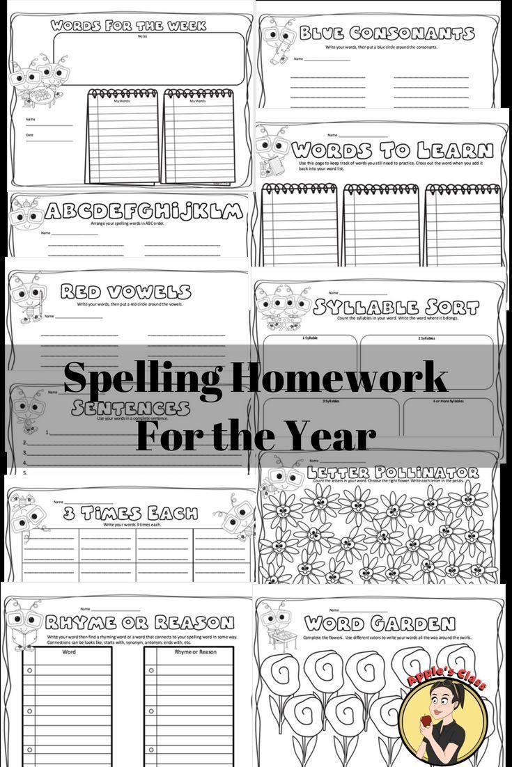 Worksheets Spelling Homework Worksheets no prep spelling homework for school pinterest and printable worksheets