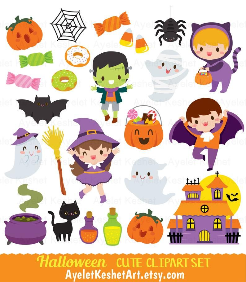 Kawaii Halloween Clipart Set Cute Digital Clipart Bundle For Personal Commercial Use Png And Eps Vector Files Instant Download Halloween Clipart Kawaii Halloween Halloween Vector