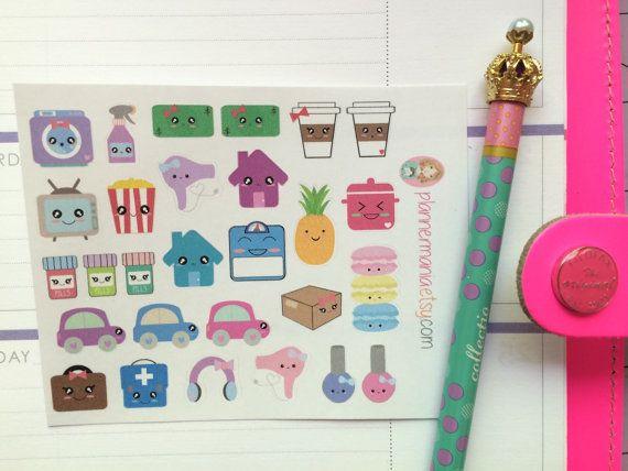 115 - Kawaii Planner Stickers, Sample Set, Sticker Sampler, Erin Condren Stickers, Happy Planner Stickers, Kawaii Stickers