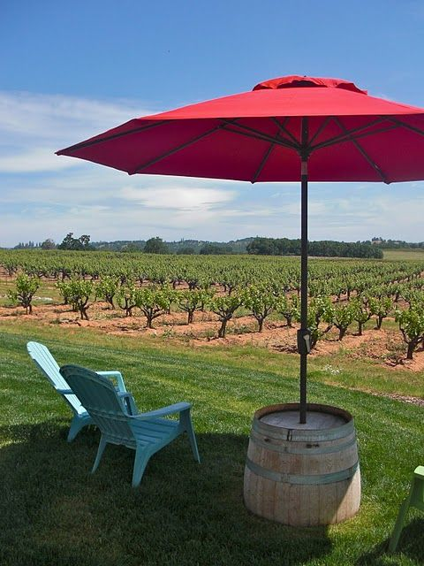 (A great solution for the ever-ugly umbrella stand. Get a wine barrel cut in half and hole the top. Use the other half as a planter.or buy those barrel ... & A great solution for the ever-ugly umbrella stand. Get a wine ...