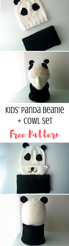 Kids\' Panda Beanie + Cowl (Free Knitting Pattern)   Simple shapes ...