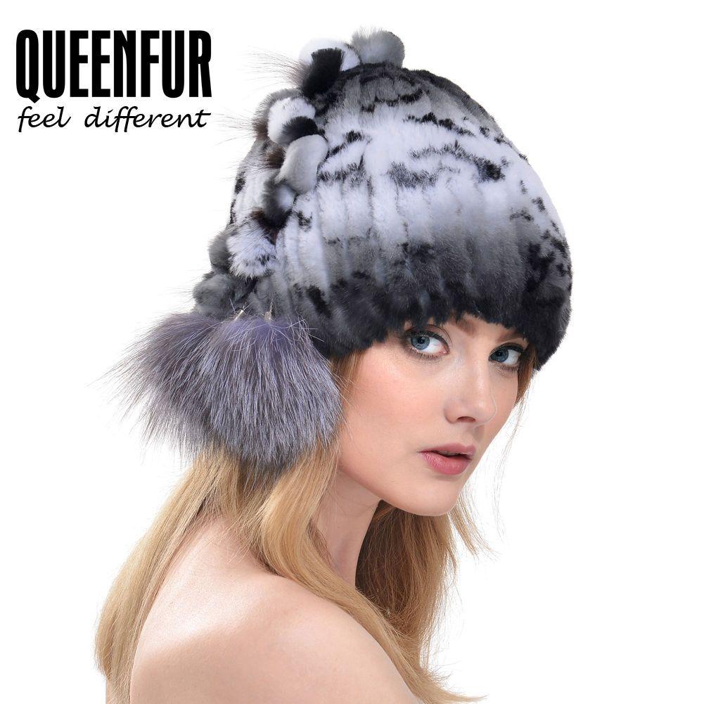49e03d8e Queenfur Real Rex Rabbit Fur Beanie Natural Silver Fox Fur Pom Cap Warm Fur  Hat