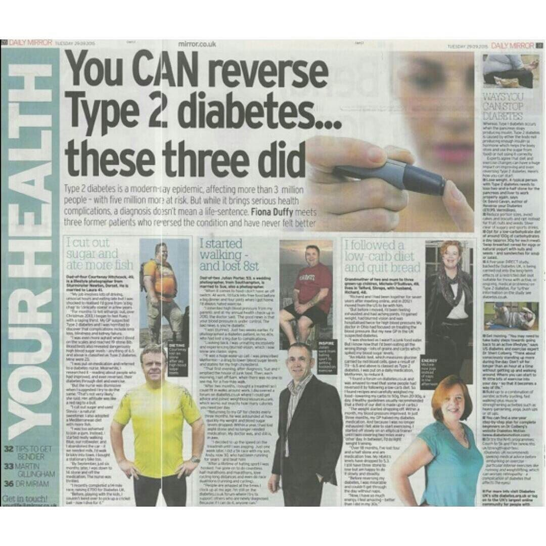 Have you seen this in today's Mirror? Can Type 2 Diabetes be reversed? These three people have done just that with the help of the #DCUK forum and a #lowcarb diet #inspiration #T2D #Type2Diabetes #diabetes #motivation by diabetescouk