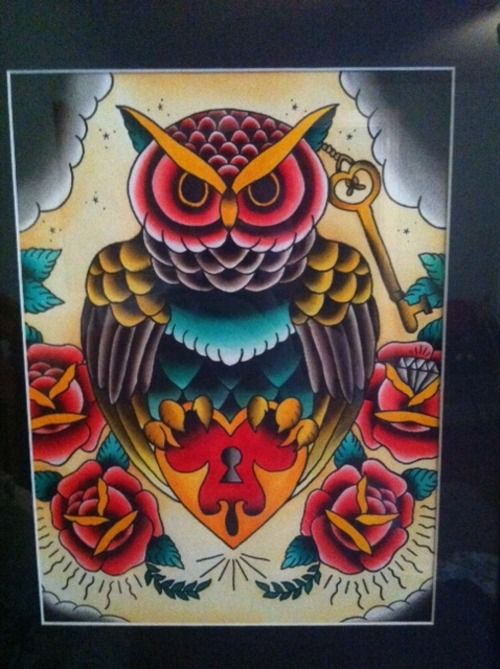 american traditional owl flash - Google Search | Tattoos ...