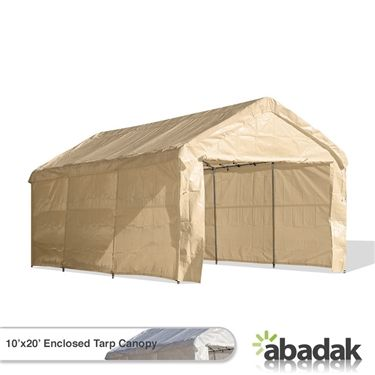 The 10 X 20 Tarp Tent Canopy Enclosed Set Has Sidewalls A Zippered Front Door And Valance Top It 5 Year Warranty On Acts Of Erosion For