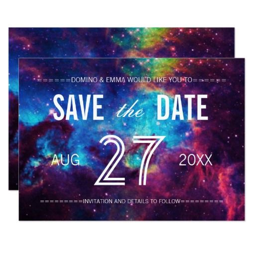 Colorful Galaxy Save The Date Card  Purple Black Damask Wedding