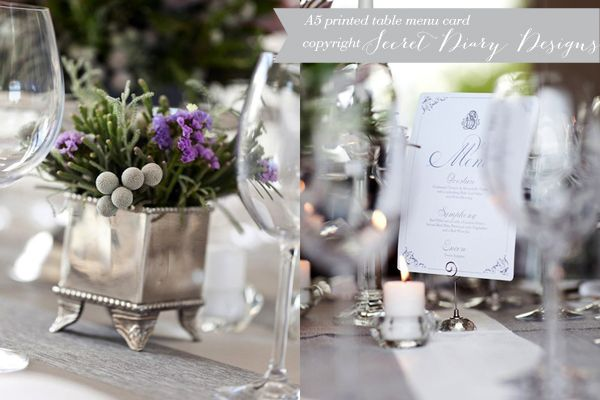 Wedding menu by http://www.secretdiary.co.za #weddingmenu #menucard #weddingstationery