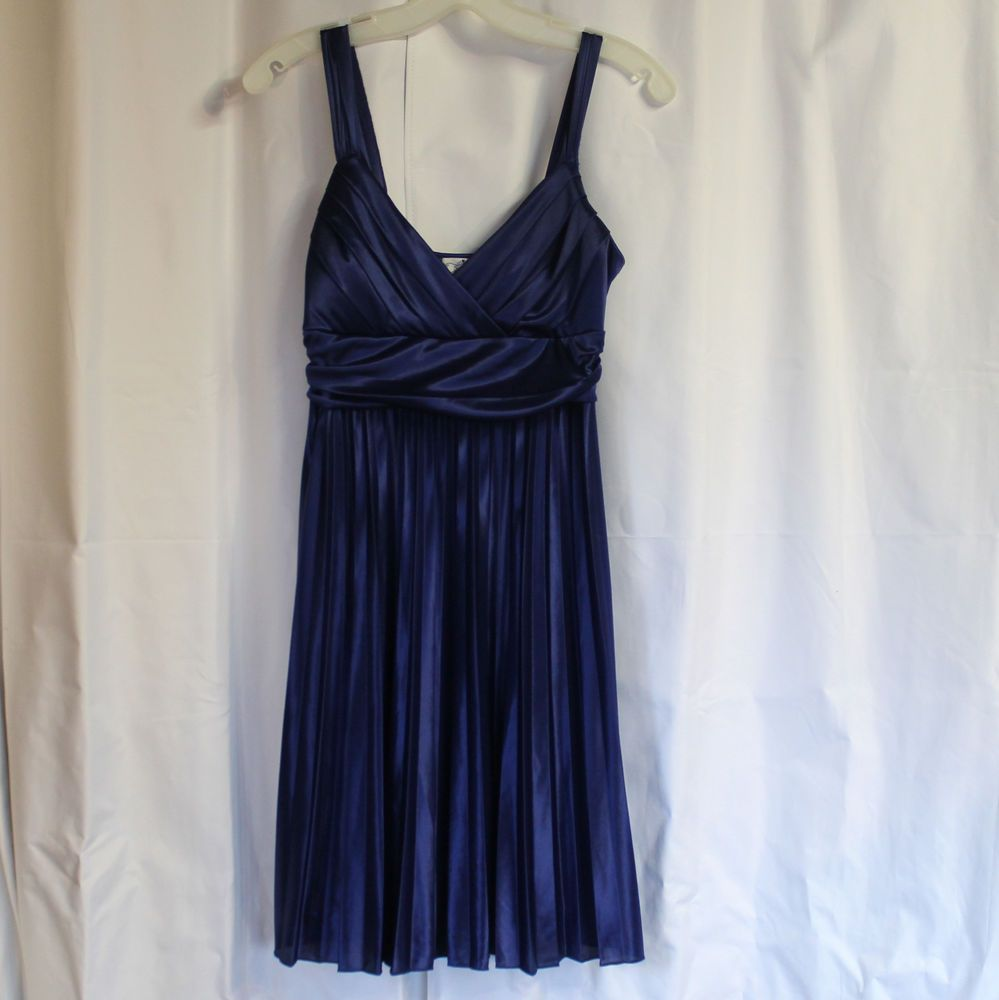 ffafc5a40 Junior's Medium TRIXXI Satin Royal Blue Knee-Length Dress Sleeveless V-Neck  #fashion