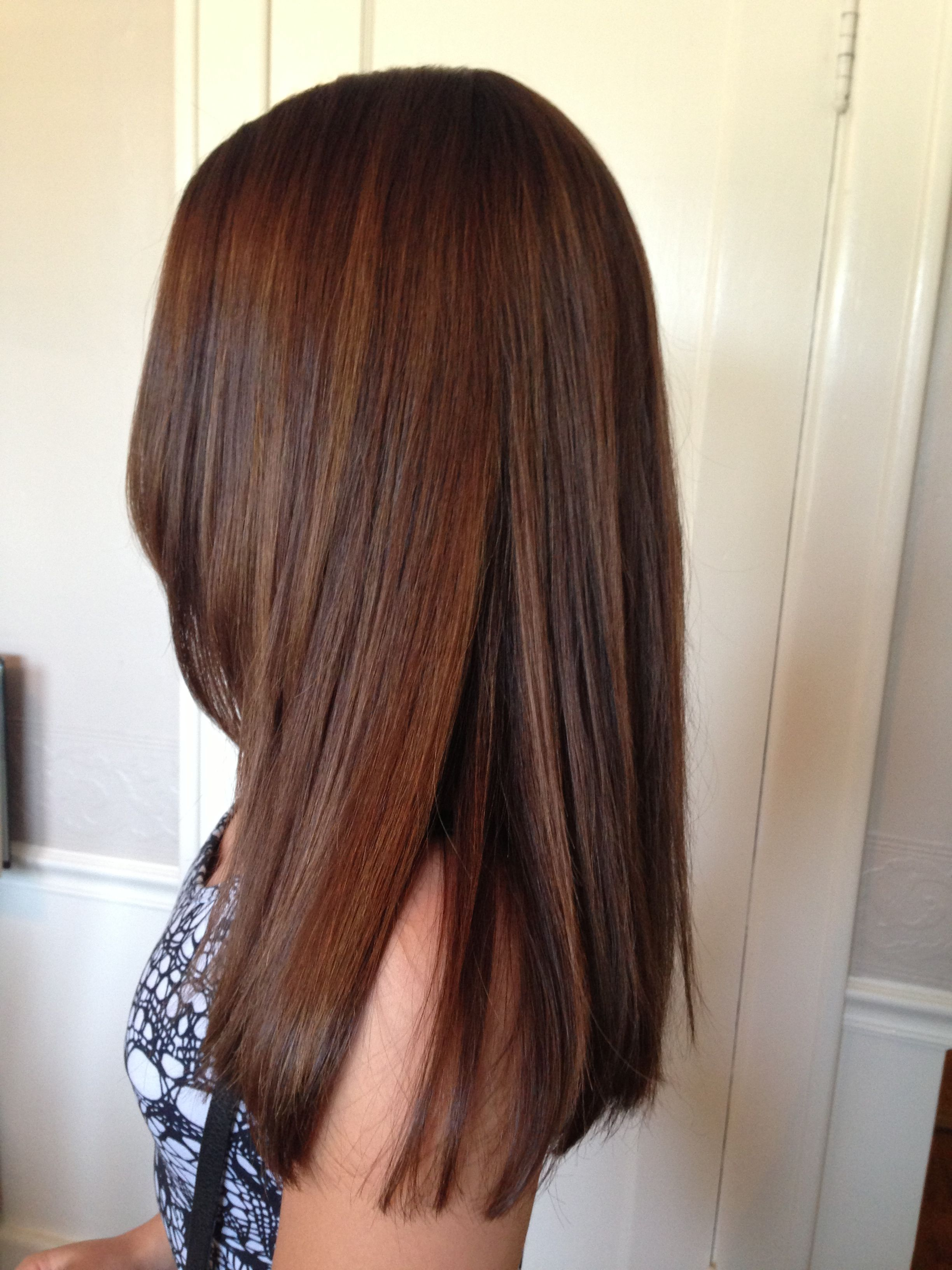 Long Layers Haircut Using Seamless Layering Techniques And Wet Haircutting Along With Dry Haircutting Technique Hair Styles Brunette Hair Color Fall Hair Color