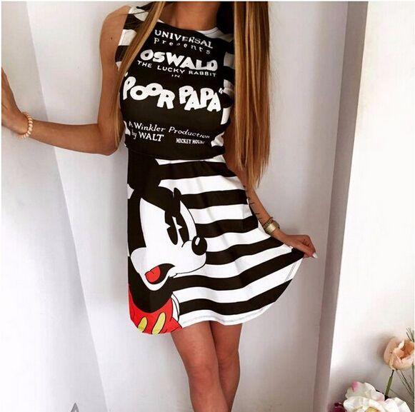 2016 del verano nuevas mujeres de la manera del patrón del ratón de impresión vestido casual o-cuello sin mangas de rayas letras impresas vestidos Vestidos