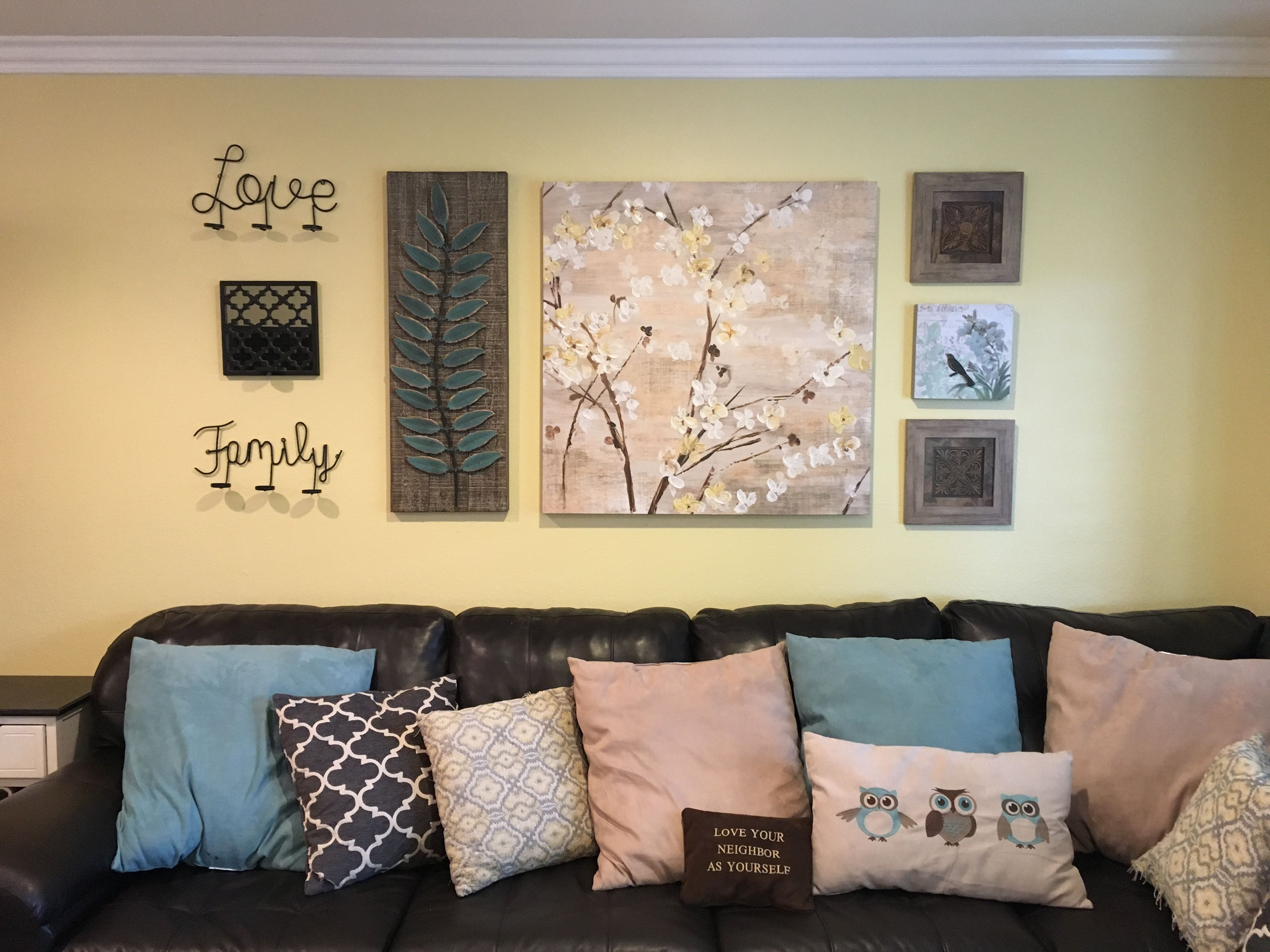 Living Room Wall Decor (Yellow, Turquoise, Brown, Black) | Home ...