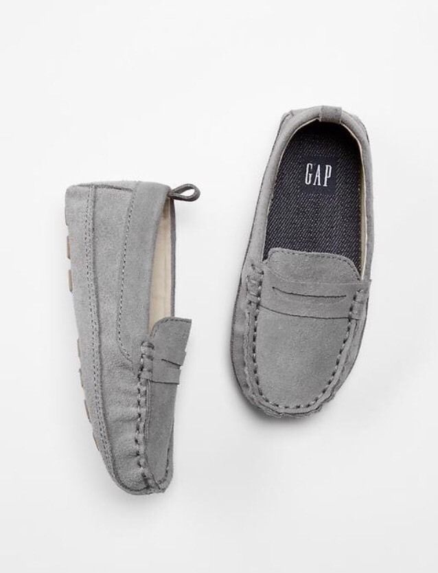 Gray Suede Slip-Ons Loafers Moccasins