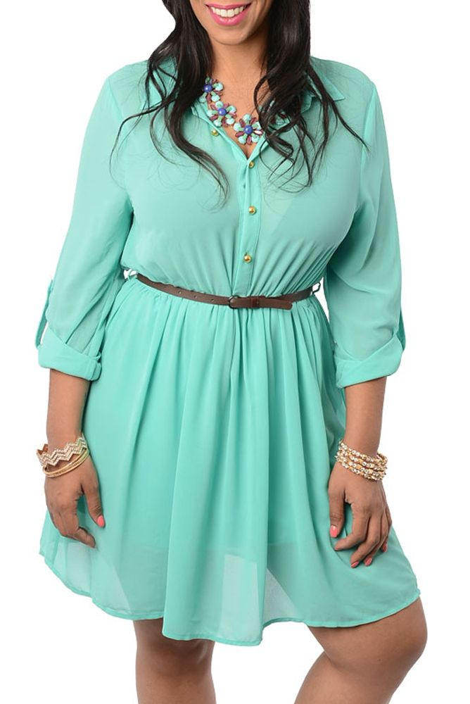 5ee7fdd6d08 Mint Plus Size Chic Chiffon Office Dress With Belt