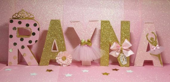 Pink and gold letters ballerina party dance birthday for Shoulder decoration 9 letters