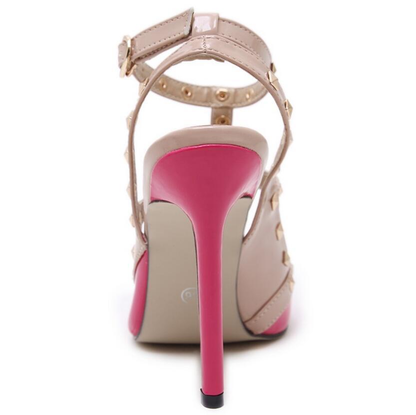 678b85380fe0 Women Pumps Ladies Pointed Toe Fashion Buckle Studded Stiletto High Heel.