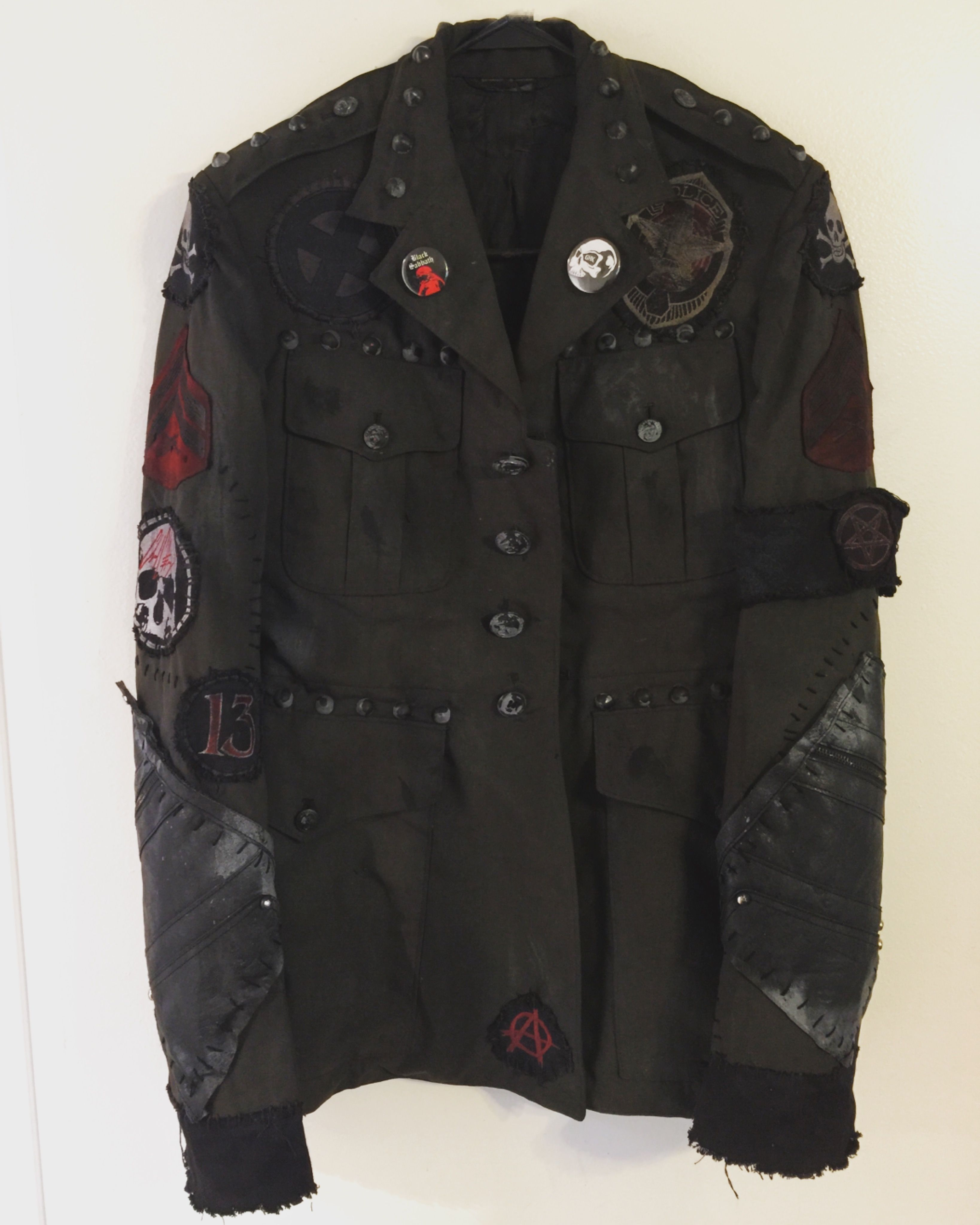 Military rocker jacket by Chad Cherry. Distressed rock n roll, heavy metal,  punk rock custom jackets from ChadCherryClothing. 113dd1170b