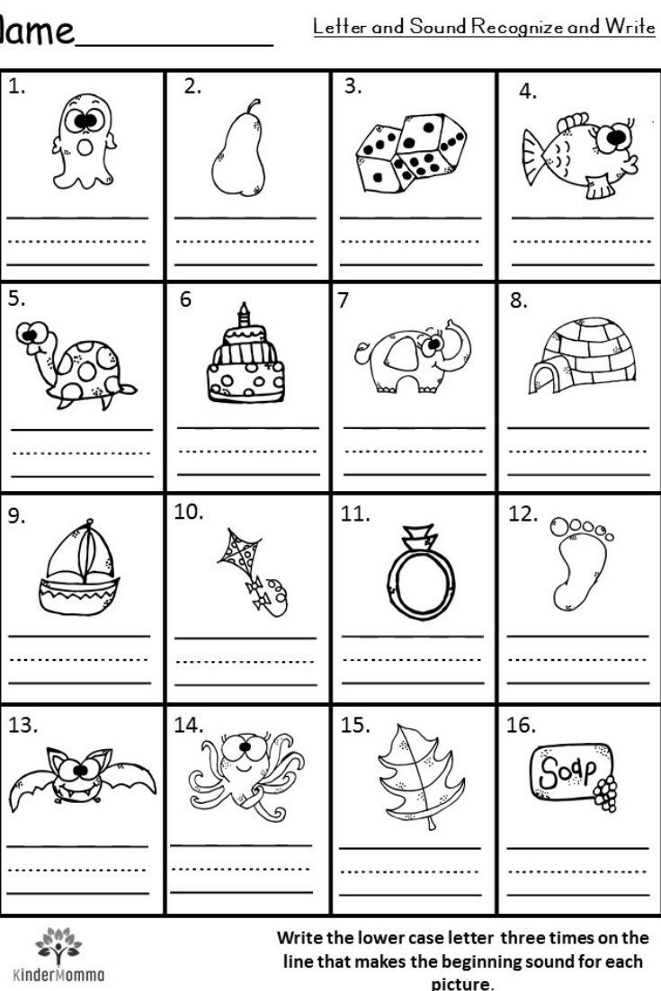 Alphabet Sounds Worksheets For Kindergarten