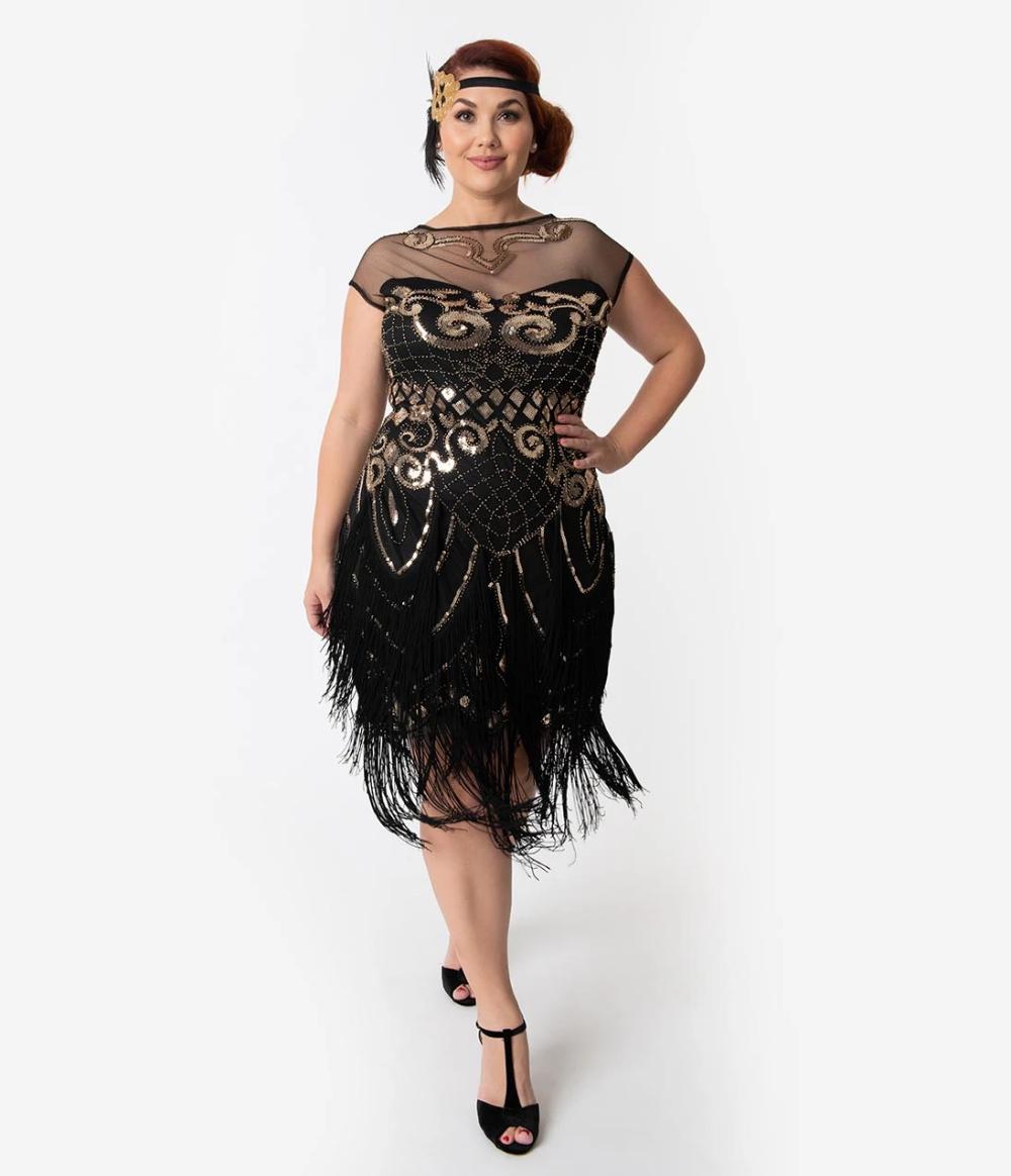 Plus Size 1920s Black Gold Sequin Fringe Zulla Flapper Dress In 2020 Flapper Kleider Flapper Kostum 20er Jahre Kleidung