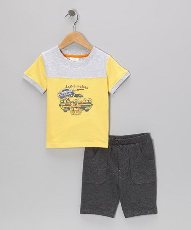 Take a look at this Yellow Classic Motors Tee & Shorts - Infant & Toddler by Absorba on #zulily today!