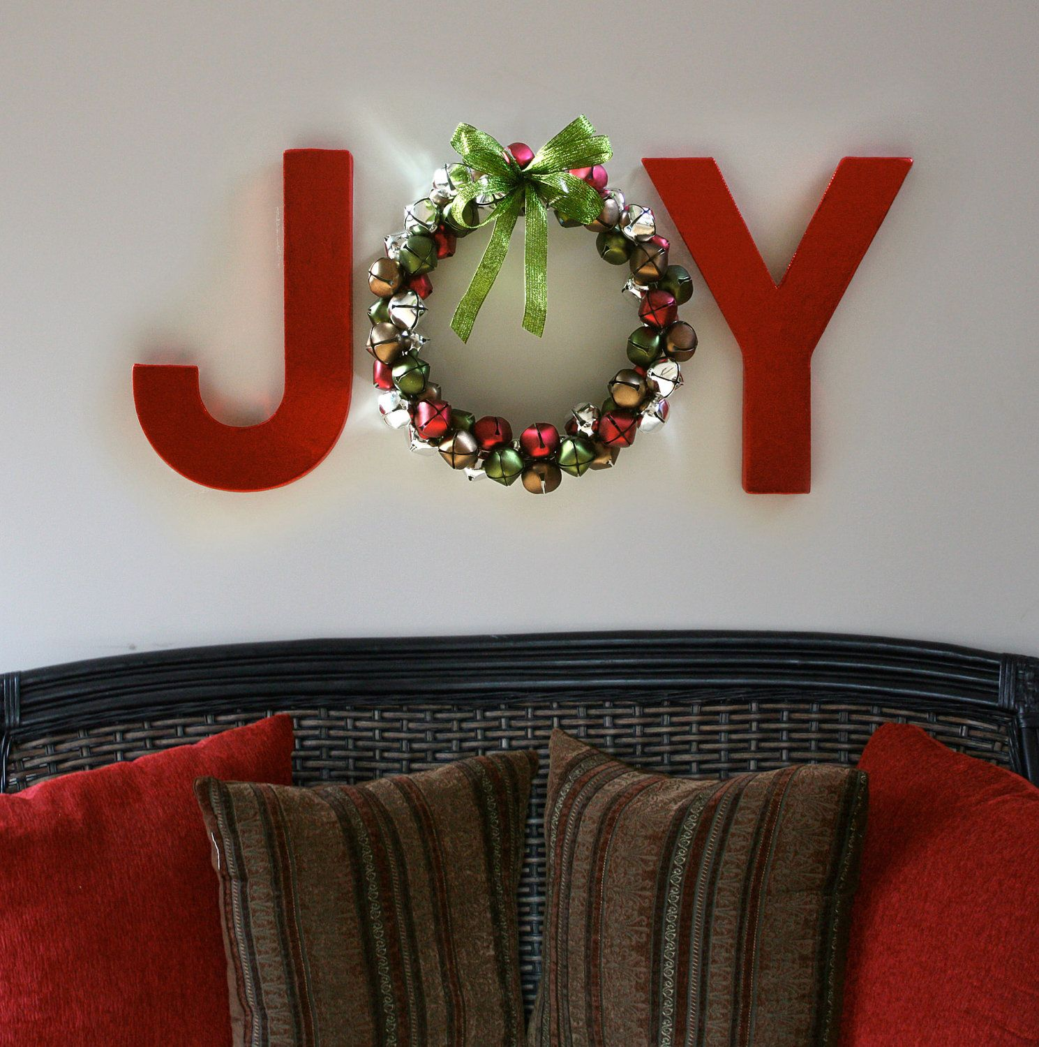 Letter Wall Decor Hobby Lobby : Joy holiday wall letters with jingle bell wreath diy
