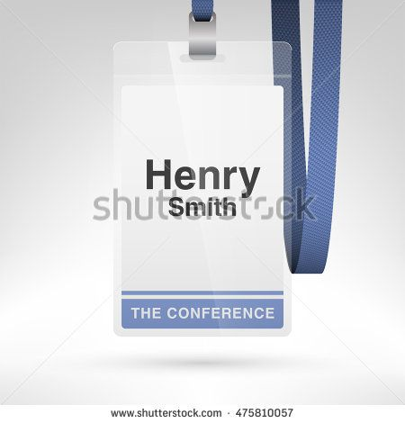 Conference badge with name tag placeholder. Blank badge template in ...