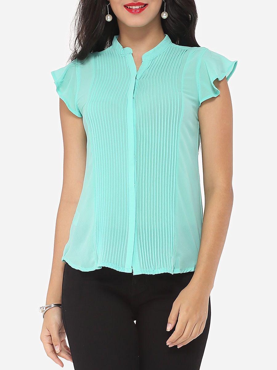 #AdoreWe #FashionMia Blouses - FashionMia Plain Falbala Exquisite V Neck Blouse - AdoreWe.com