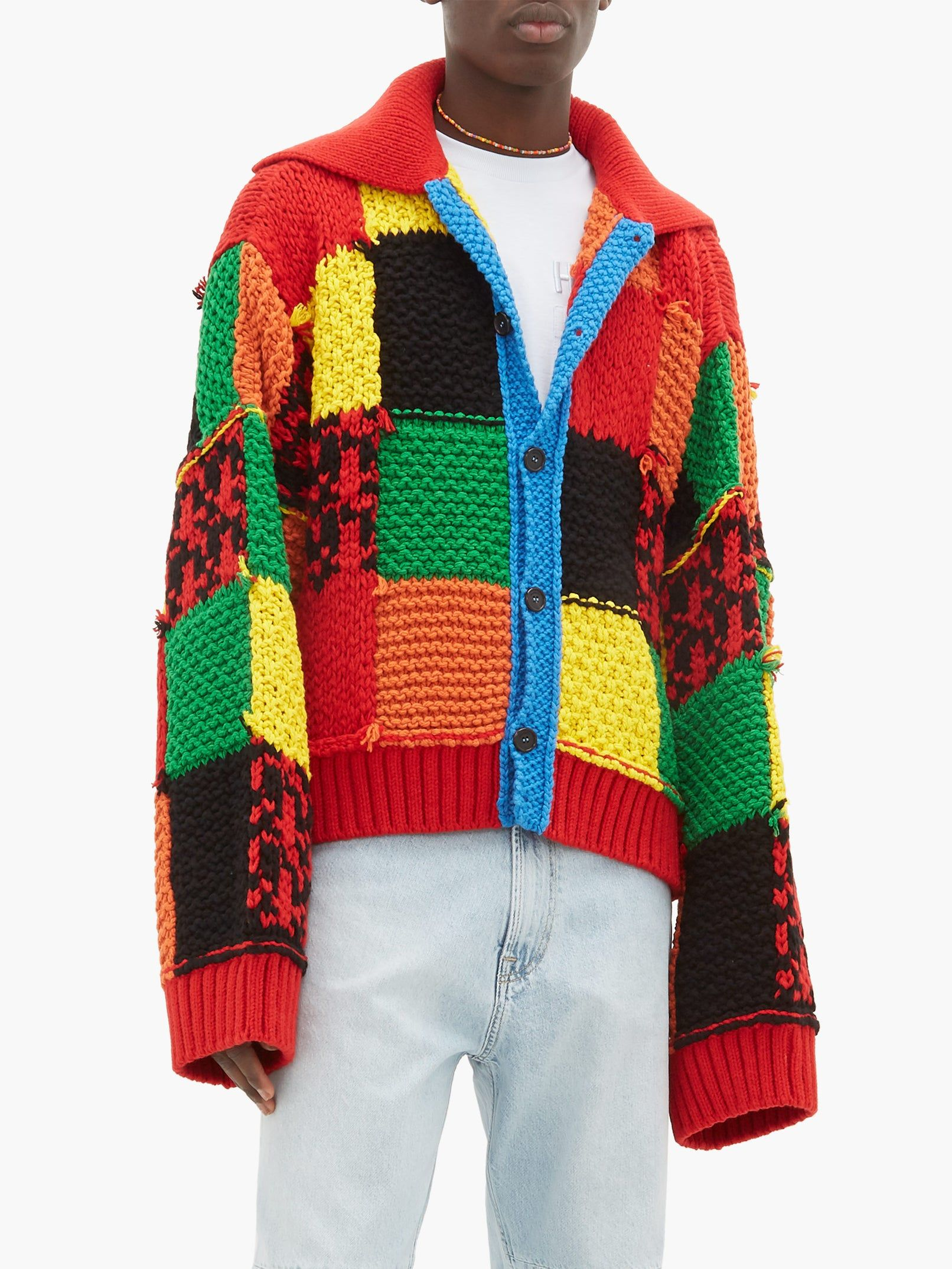 Harry Styles Cardigan Patchwork Rainbow Hand-Knit Inspired By JW Anderson
