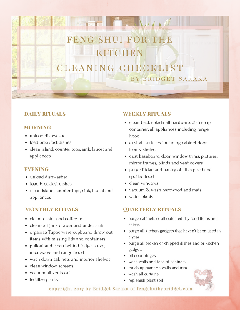 Feng shui for the kitchen checklist printable for the house