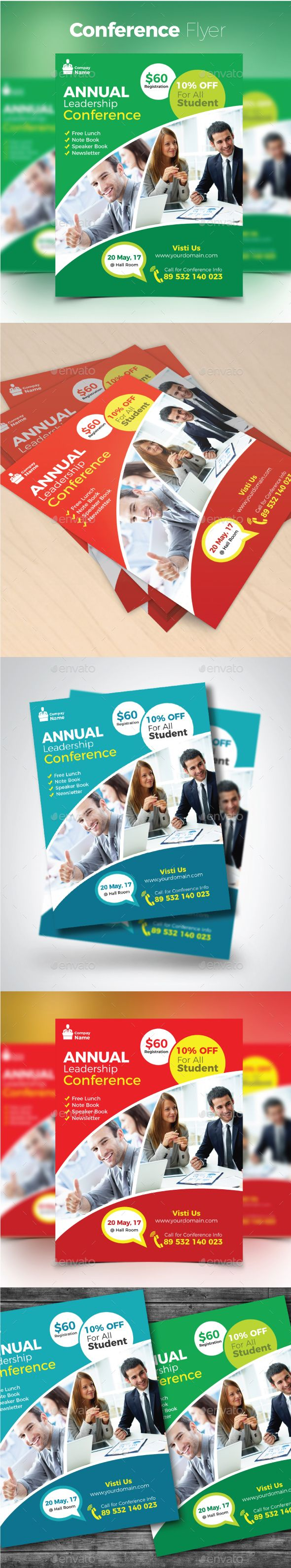 Conference Flyer Template Vector EPS AI Illustrator Flyer - Illustrator brochure template