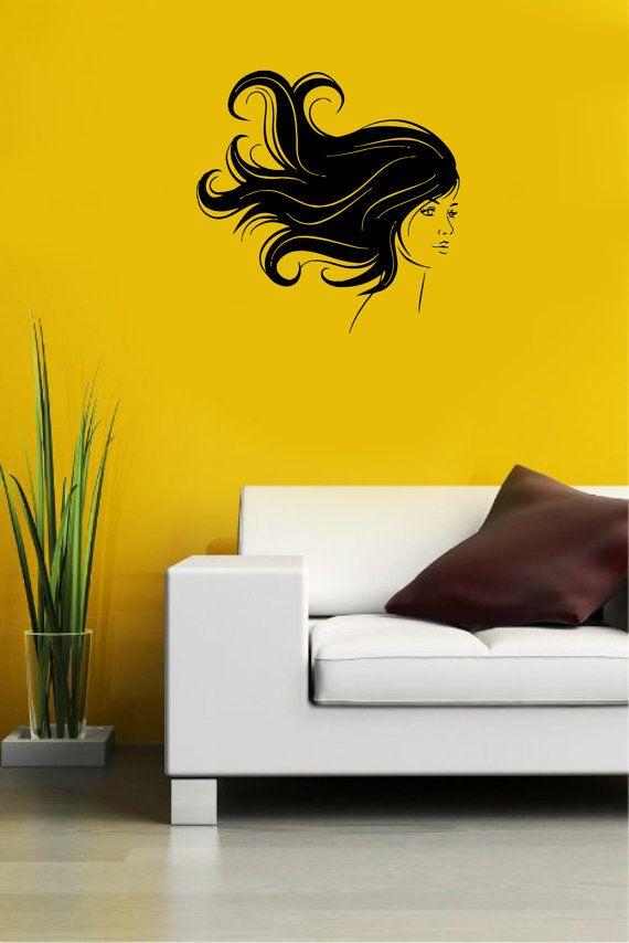 Beauty Hair Spa Salon Girl Housewares Wall Vinyl Decal Art Modern ...