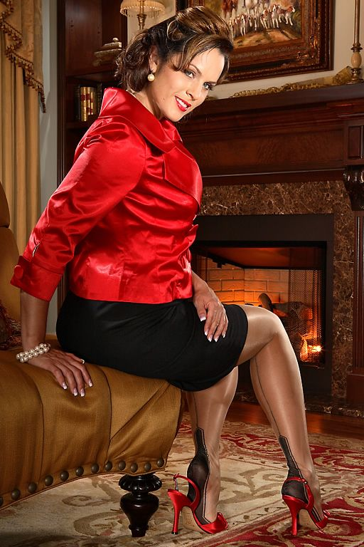 Black Pencil Skirt Red Satin Top Sheer Black Back Seam