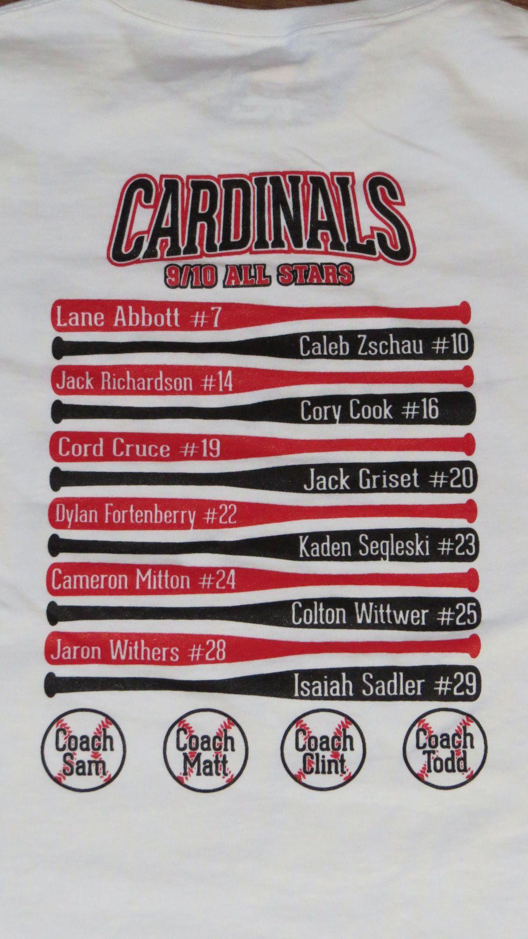 Baseball Team Roster Shirt Designs