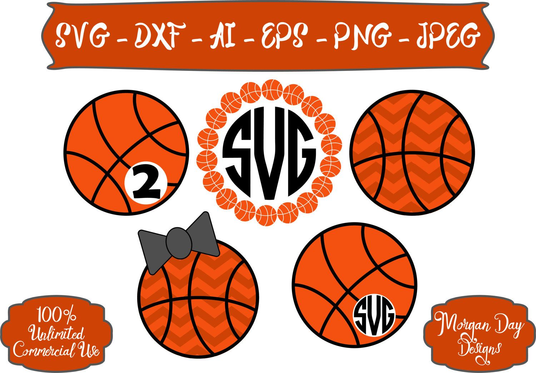 Basketball Monogram SVG Chevron Basketball SVG