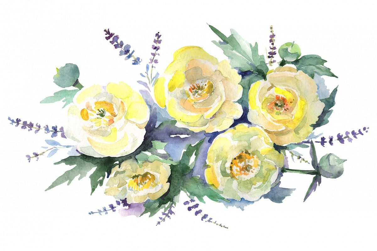 Bouquet Of Yellow Flowers Watercolor Png 233416 Illustrations Design Bundles Free Watercolor Flowers Flower Graphic Watercolor Flowers