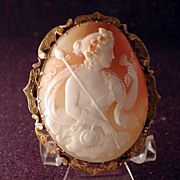 Huge Museum quality cameo of Baccus-Dionysus in fancy gold frame