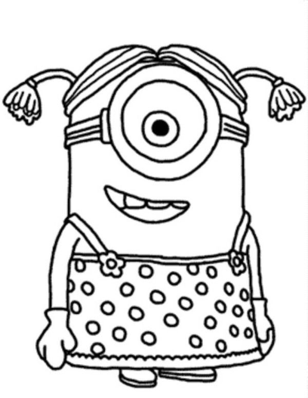 Minion Girl Despicable Me Coloring Pages Minions Pinterest - new free printable coloring pages/girls in dresses