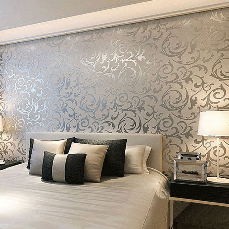 Floral textured damask design glitter wallpaper for living for Bed wallpaper design