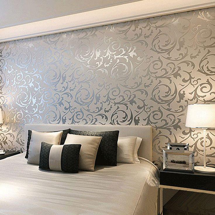 Floral textured damask design glitter wallpaper for living