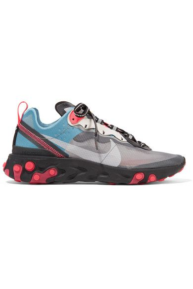 sale retailer 82486 a5b80 Nike - React Element 87 Microsuede-trimmed Ripstop Sneakers - Gray