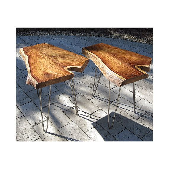 2 Rosewood end tables 23H 24L sturdy metal by TimOBrienWoodworks