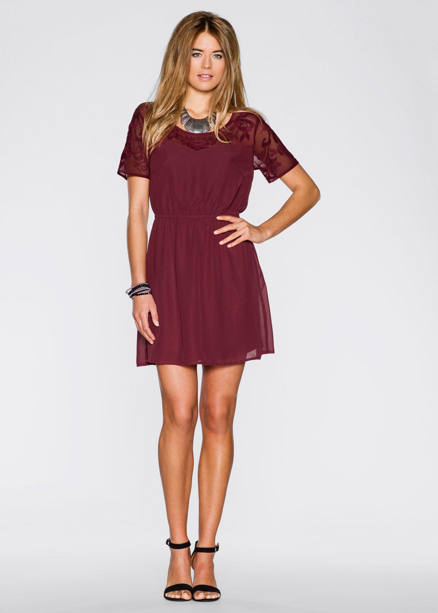 Kleid mit Netz-Einsatz bordeaux - RAINBOW jetzt im Online Shop von