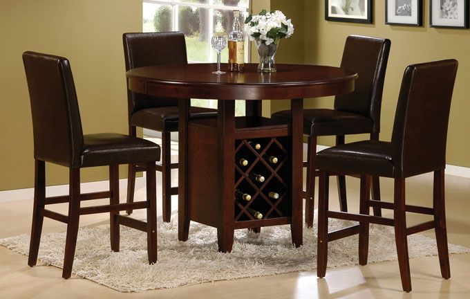Caledonia Round Cappuccino Counter High Dining Table Set Counter Height Dining Table Dining Table High Dining Table