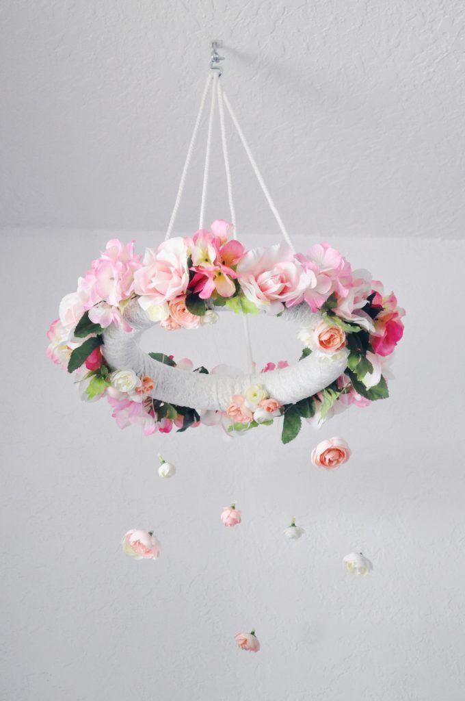 DIY Flower Mobile – Baby girl nursery decor images