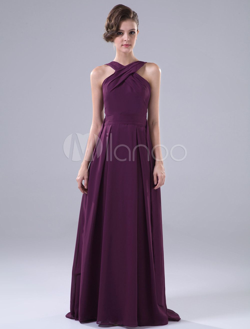 Bonita do assoalho-comprimento vestido a linha roxa da dama de honra
