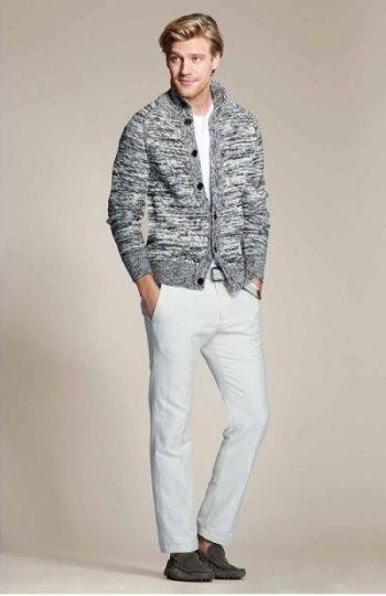 8df6d692 Grey Slub Cotton Cardigan, and White Jeans, by Banana Republic. Men's  Spring Summer Fashion.