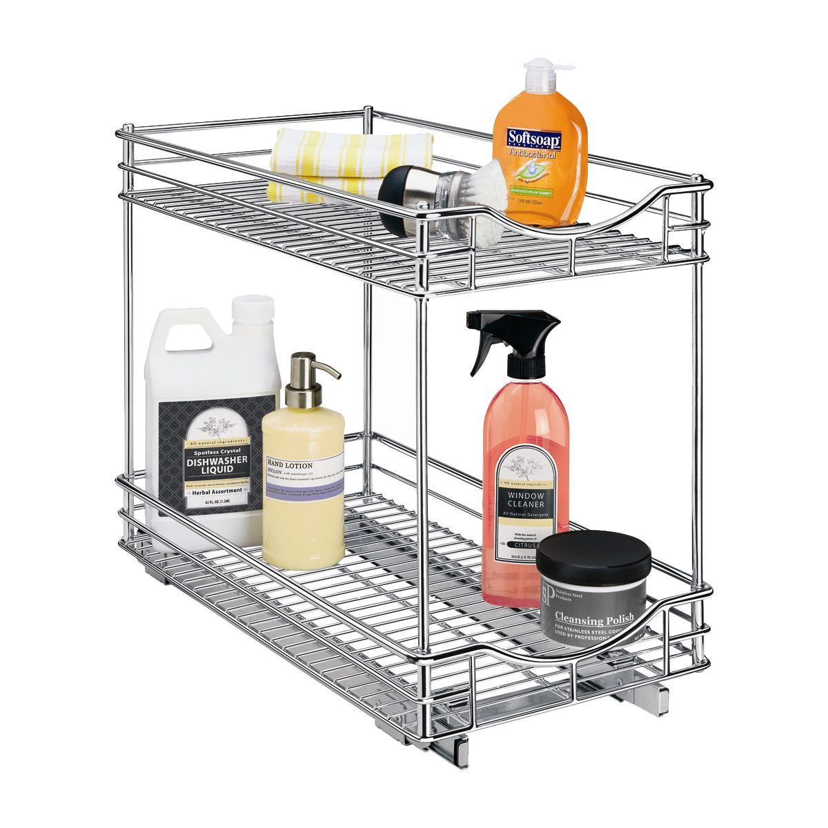 Roll Out Double Shelf - Pull Out Two Tier Sliding Under Cabinet ...