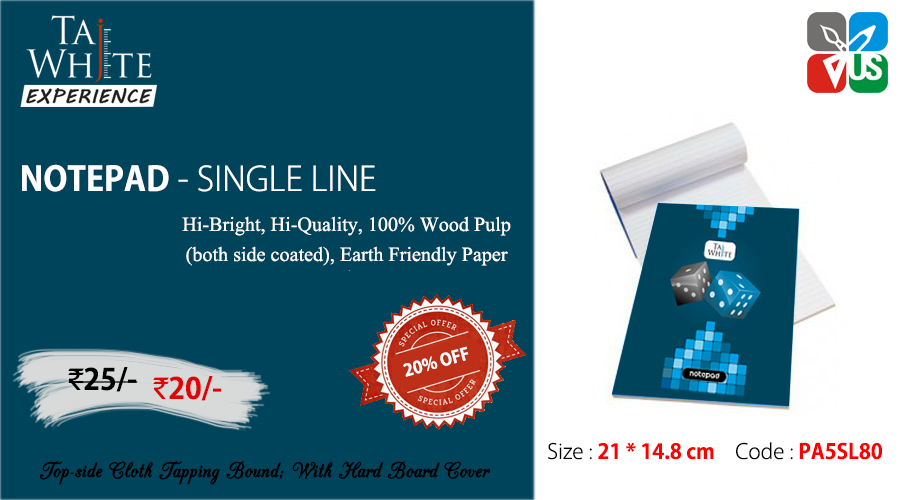 Buy online Writing Notepad A5 Tw Single Line Pg80 at Tajwhite.in with 20% Discount. #WritingNotepadA5 #SingleLinePg80