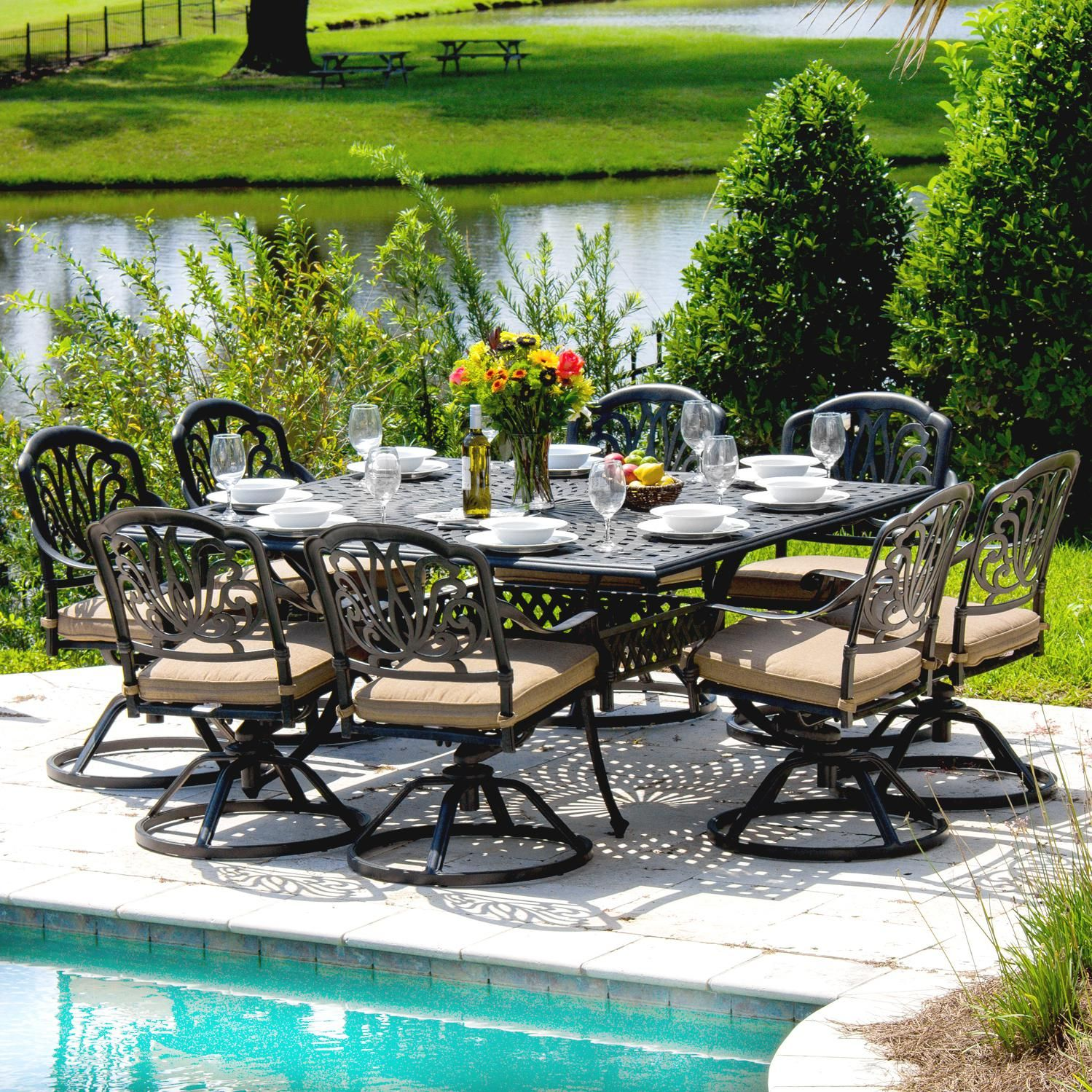 Rosedown 8 Person Cast Aluminum Patio Dining Set With Cast Aluminum Table :  Ultimate Patio