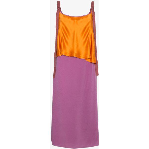 Silk colour block strappy dress - Yellow & Orange Sies Marjan nKpODCne